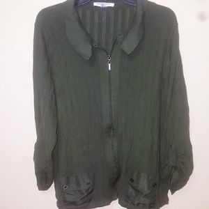 Army Green Soft Sweater with pockets 2X